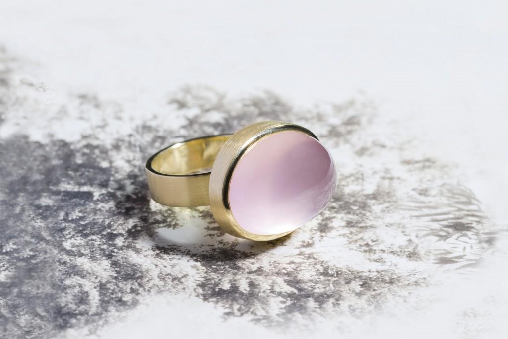 Ring - geel goud - roze kwarts