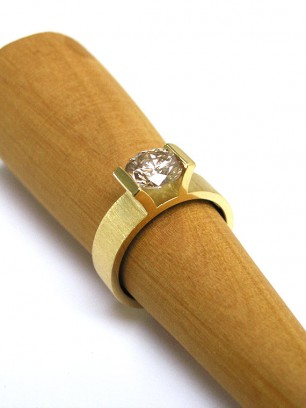Ring - geel goud - diamant - briljant slijpsel