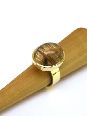 Ring - geel goud - bergkristal - rutiel naalden