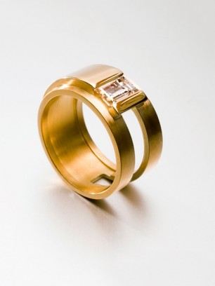 Ring - geel  goud - diamant - baguette slijpsel