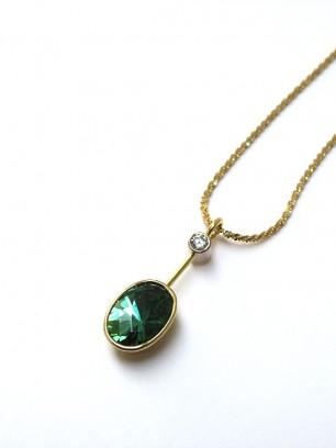 Hanger - geel goud - groene toermalijn en diamant briljant slijpsel