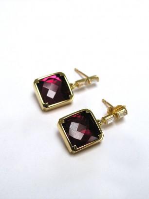 Oorbellen - geel goud - rubellieten en diamanten
