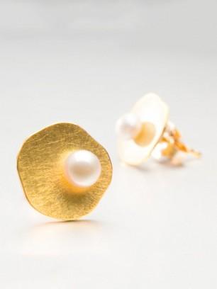 Oorbellen - geel goud - kultuurparels